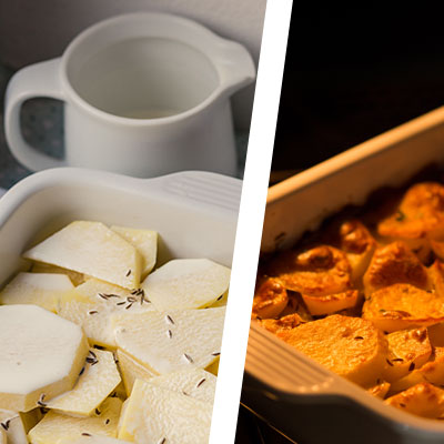 Zapečené mäso so zemiakmi a smotanou